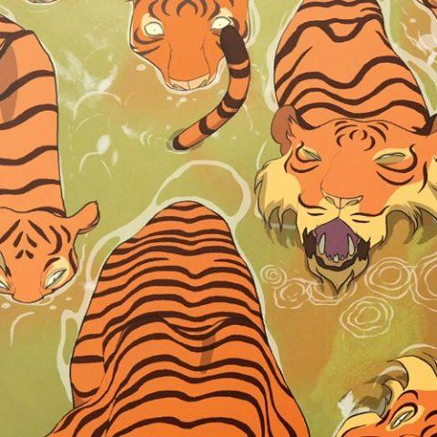 Animated tigers walk through muddied water