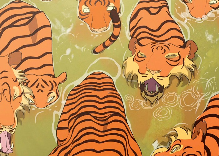 Animated tigers walk through muddied water