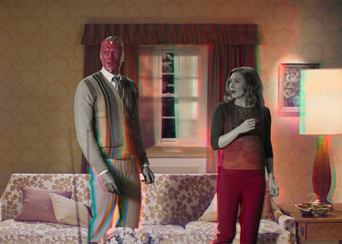 Wanda and Vision stand in their living room